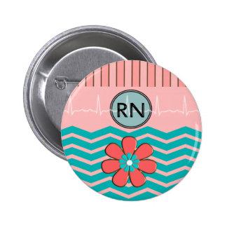 Rosa y azul del modelo del RN Chevron Pin Redondo De 2 Pulgadas