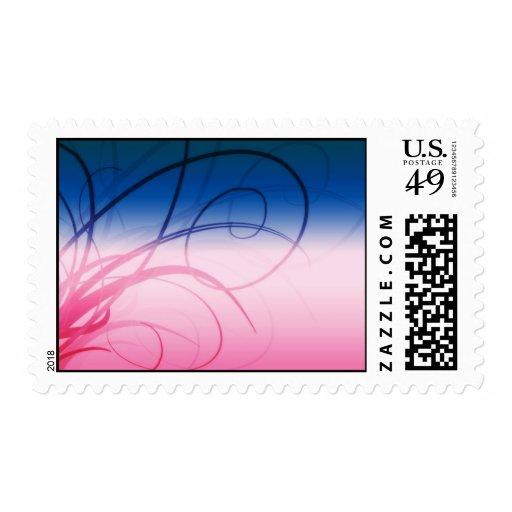 Rosa y azul del sello