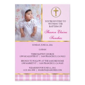 """Rosa y bautismo del oro/invitación del bautizo invitación 5"""" x 7"""""""