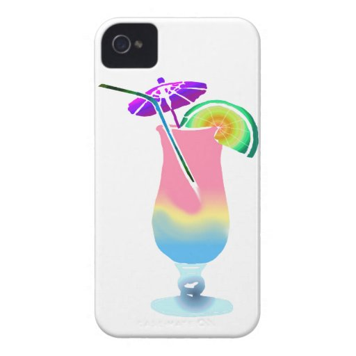 Rosa y bebida tropical azul iPhone 4 fundas