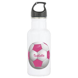 Rosa y blanco adaptables del balón de fútbol del botella de agua