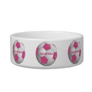 Rosa y blanco adaptables del balón de fútbol del comedero para mascota