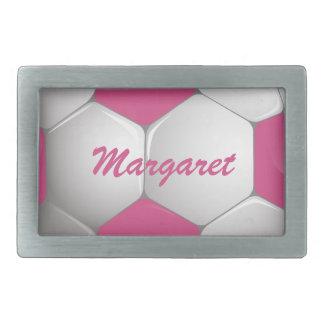 Rosa y blanco adaptables del balón de fútbol del f hebillas de cinturón rectangulares