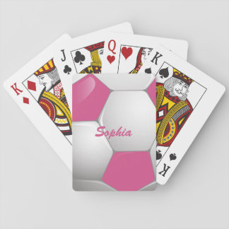 Rosa y blanco adaptables del balón de fútbol del f baraja de cartas
