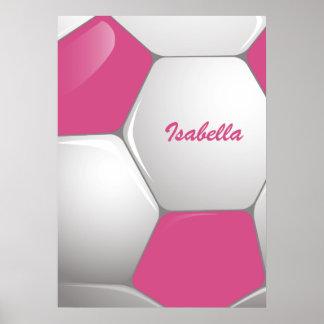 Rosa y blanco adaptables del balón de fútbol del f posters