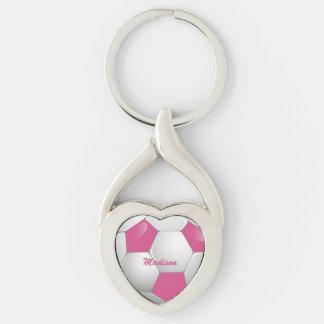 Rosa y blanco adaptables del balón de fútbol del f llaveros
