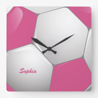Rosa y blanco adaptables del balón de fútbol del f relojes de pared