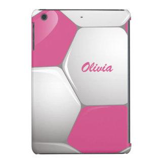 Rosa y blanco adaptables del balón de fútbol del fundas de iPad mini