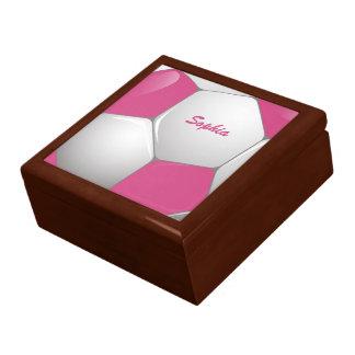 Rosa y blanco adaptables del balón de fútbol del caja de joyas