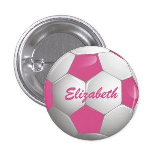 Rosa y blanco adaptables del balón de fútbol del pin redondo de 1 pulgada