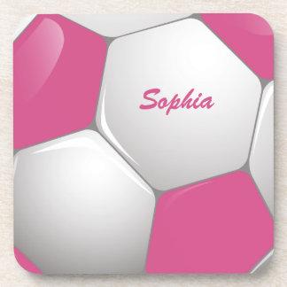 Rosa y blanco adaptables del balón de fútbol del posavasos de bebidas