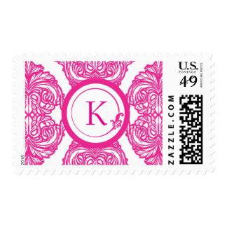Rosa y blanco adornados del damasco sello