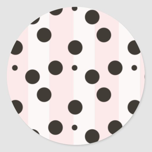 Rosa y blanco con el pegatina negro de los lunares