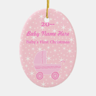 Rosa y blanco. El primer navidad del bebé Adorno Navideño Ovalado De Cerámica
