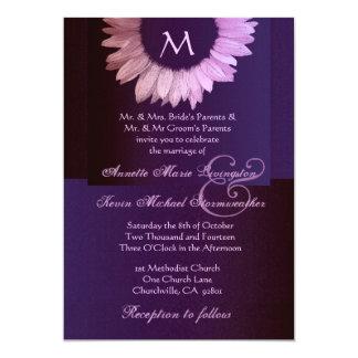 Rosa y boda coloreado púrpura del girasol invitación 12,7 x 17,8 cm