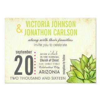 Rosa y boda moderno suculento de la tipografía de invitacion personal