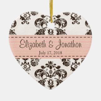 Rosa y boda personalizados del damasco del vintage adorno de cerámica en forma de corazón