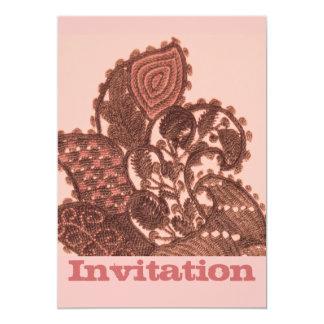 """Rosa y bohemio Paisley del oro Invitación 5"""" X 7"""""""