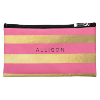 Rosa y bolso cosmético personalizado raya del oro