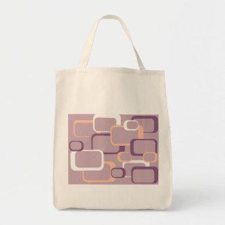 Rosa y bolso cuadrado retro púrpura bolsas lienzo
