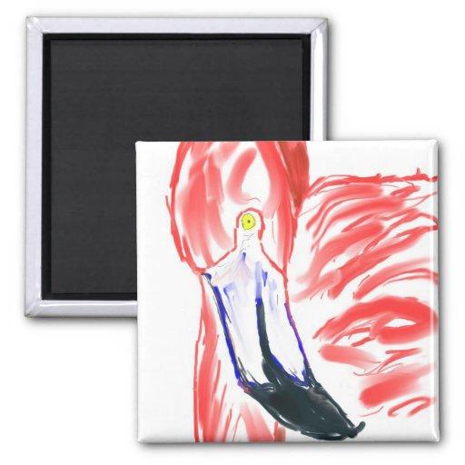 Rosa y bonito de la pintura de la pintura de aceit imán cuadrado