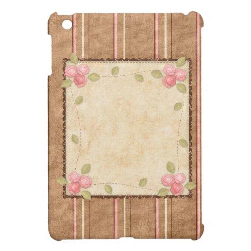 Rosa y Brown del país - rayas y rosas iPad Mini Fundas