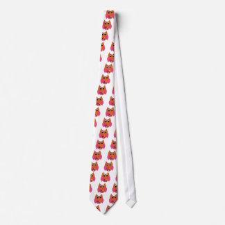 Rosa y búho maravilloso anaranjado corbatas personalizadas
