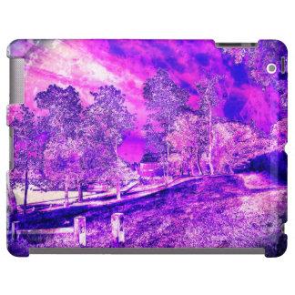 Rosa y caja rural púrpura del iPad de la escena