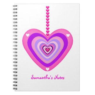 Rosa y capas de Purple Heart Libretas Espirales