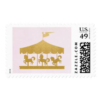 Rosa y carrusel del oro sello postal