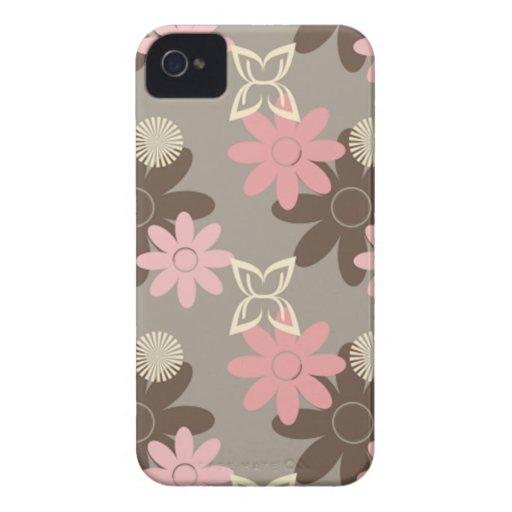 Rosa y caso del iPhone 4 de las flores de Brown iPhone 4 Fundas