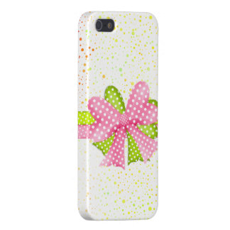 Rosa y caso del iPhone 5 del arco y de la cinta de iPhone 5 Protector
