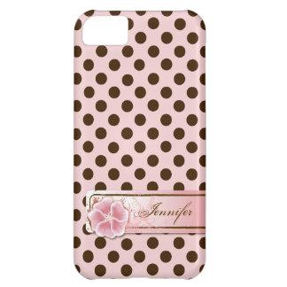 Rosa y caso elegantes del iPhone 5 del lunar de Br