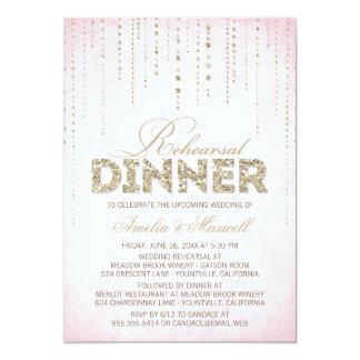 """Rosa y cena del ensayo de la mirada del brillo del invitación 5"""" x 7"""""""