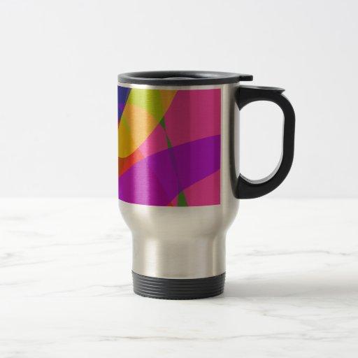 Rosa y colores vivos púrpuras taza de café