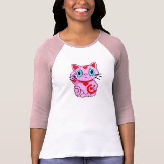 Rosa y corazones afortunados del gato de Maneki Camisetas