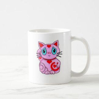 Rosa y corazones afortunados del gato de Maneki qu Taza