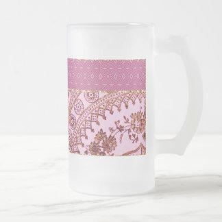 Rosa y cordón del oro taza de café