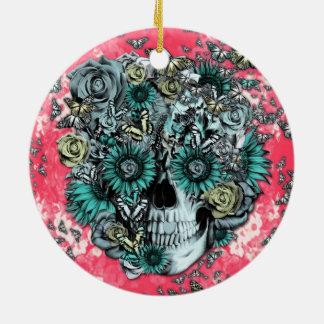 Rosa y cráneo floral azul ornamente de reyes
