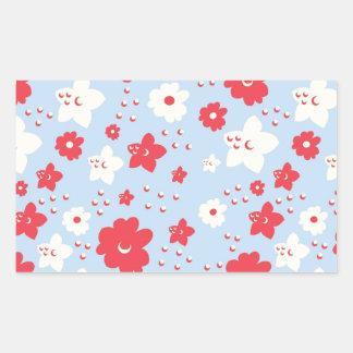 Rosa y crema del pétalo de los azules cielos con rectangular pegatina