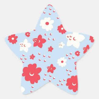 Rosa y crema del pétalo de los azules cielos con pegatina forma de estrella