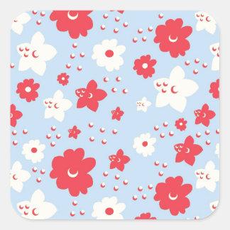 Rosa y crema del pétalo de los azules cielos con pegatinas cuadradases personalizadas