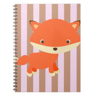 Rosa y cuaderno derecho rayado Brown del Fox