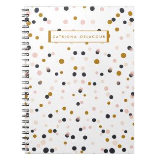 Rosa y cuaderno personalizado confeti del oro