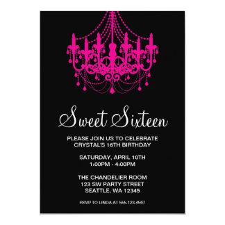 Rosa y cumpleaños del dulce dieciséis de Black Invitación 12,7 X 17,8 Cm