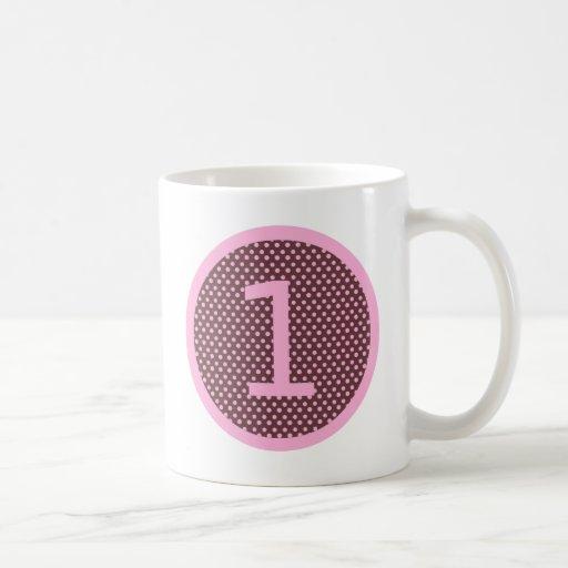 Rosa y cumpleaños UNO de Brown primer Taza De Café