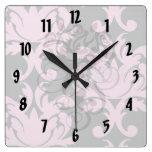 rosa y damasco grande profundamente gris reloj