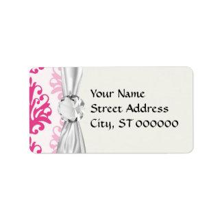 Rosa y damasco rosado oscuro de la moda del boho etiquetas de dirección