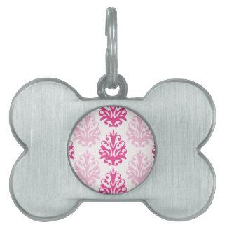 Rosa y damasco rosado oscuro de la moda del boho placa de nombre de mascota