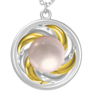 Rosa y diamantes de la perla colgante redondo